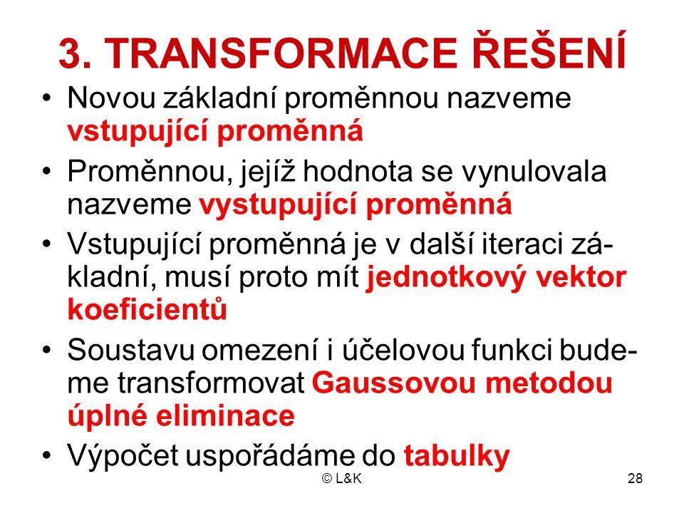 3. TRANSFORMACE ŘEŠENÍ Novou základní proměnnou nazveme vstupující proměnná. Proměnnou, jejíž hodnota se vynulovala nazveme vystupující proměnná.