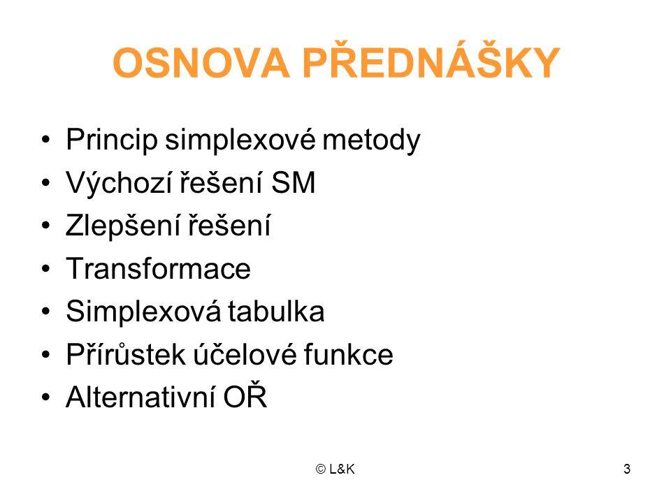 OSNOVA PŘEDNÁŠKY Princip simplexové metody Výchozí řešení SM