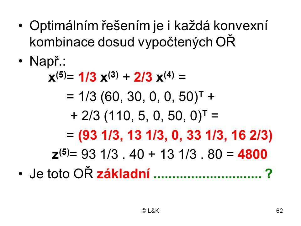 Optimálním řešením je i každá konvexní kombinace dosud vypočtených OŘ