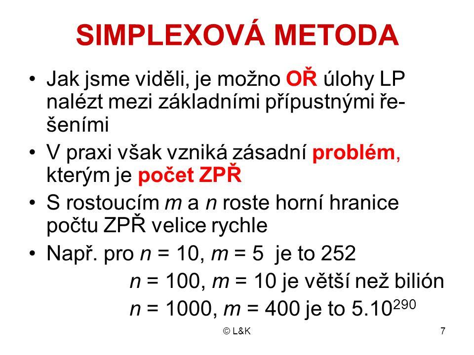 SIMPLEXOVÁ METODA Jak jsme viděli, je možno OŘ úlohy LP nalézt mezi základními přípustnými ře-šeními.