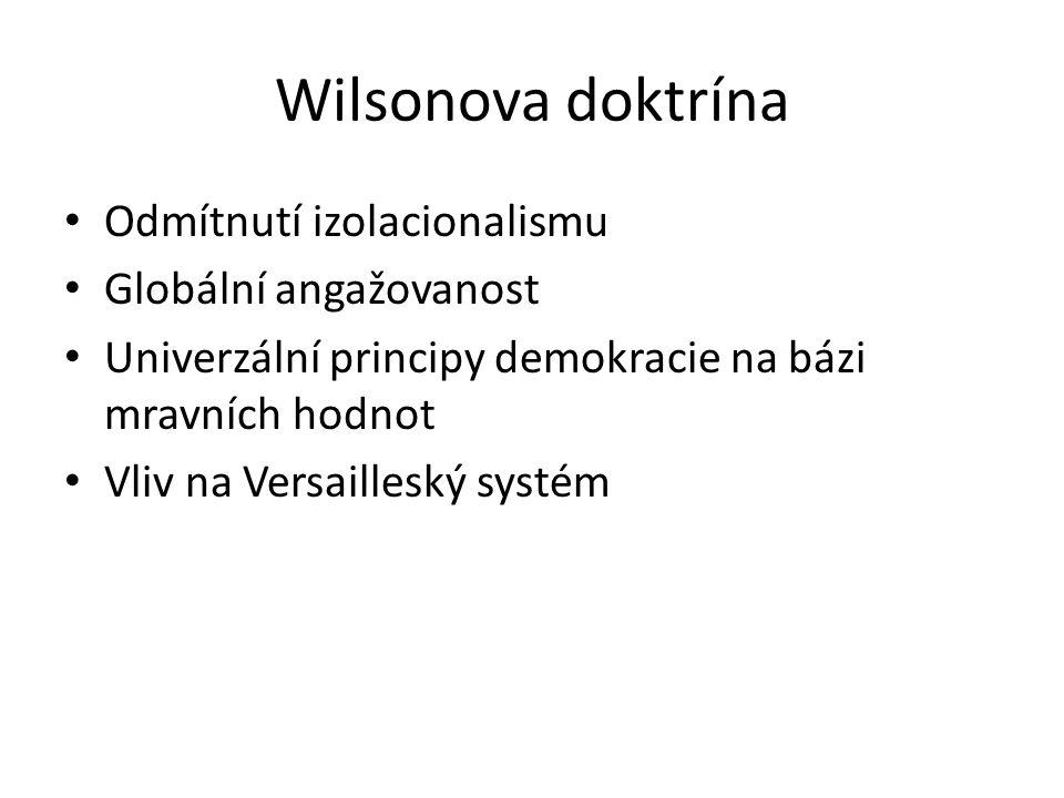 Wilsonova doktrína Odmítnutí izolacionalismu Globální angažovanost