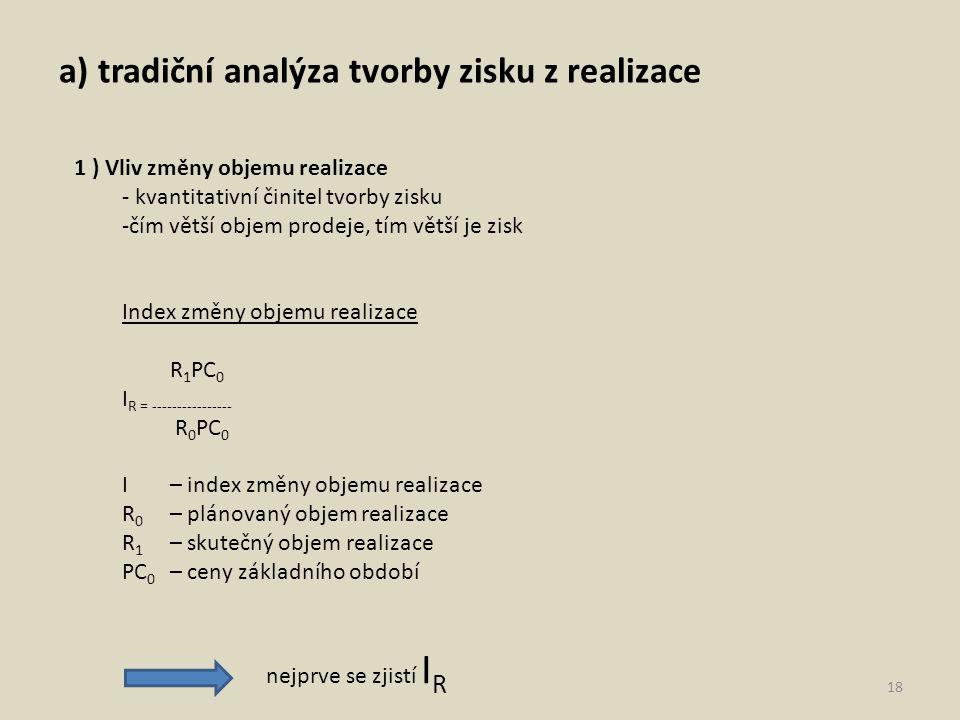 a) tradiční analýza tvorby zisku z realizace