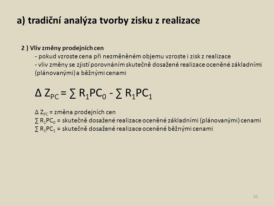 ∆ ZPC = ∑ R1PC0 - ∑ R1PC1 a) tradiční analýza tvorby zisku z realizace