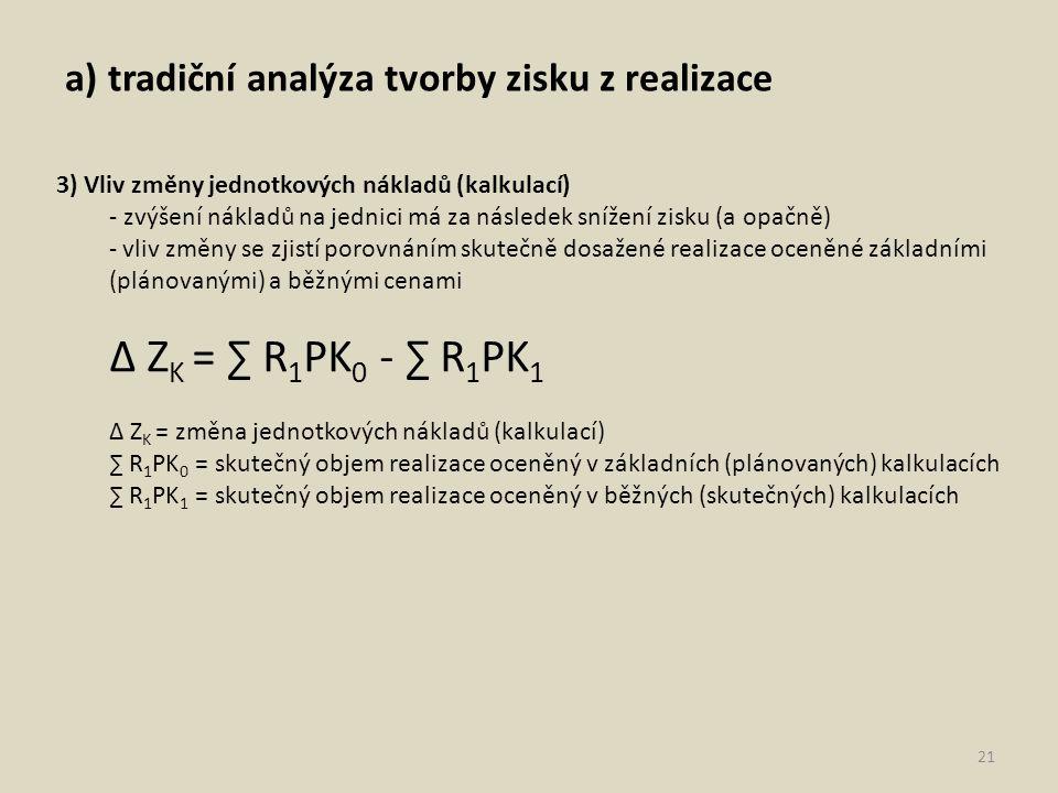 ∆ ZK = ∑ R1PK0 - ∑ R1PK1 a) tradiční analýza tvorby zisku z realizace