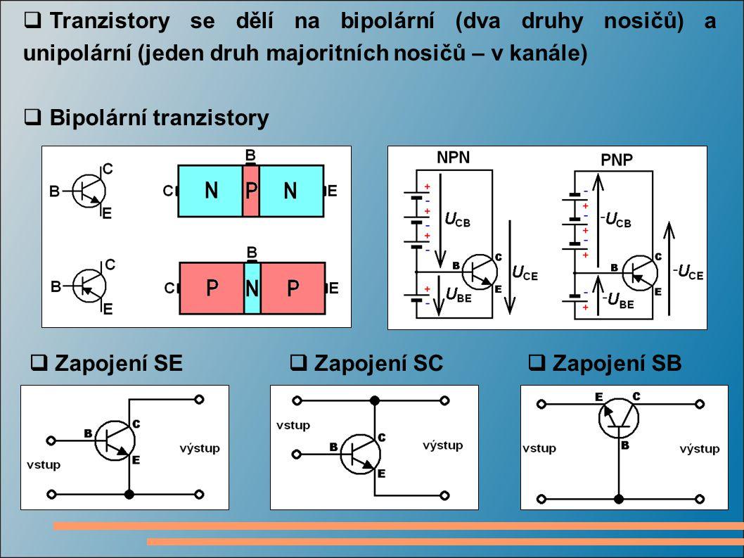 Tranzistory se dělí na bipolární (dva druhy nosičů) a unipolární (jeden druh majoritních nosičů – v kanále)