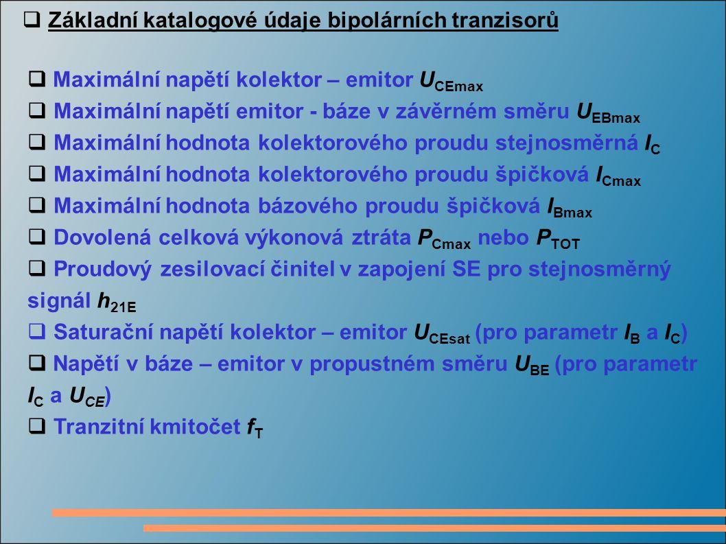 Základní katalogové údaje bipolárních tranzisorů