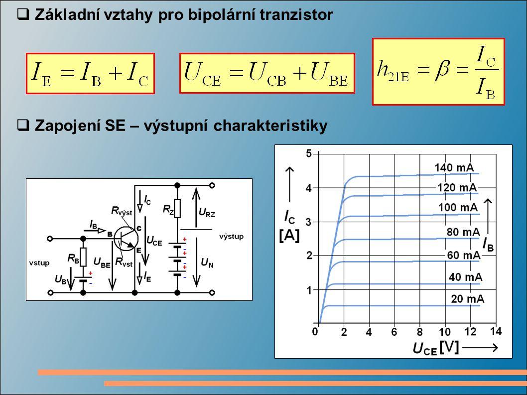 Základní vztahy pro bipolární tranzistor