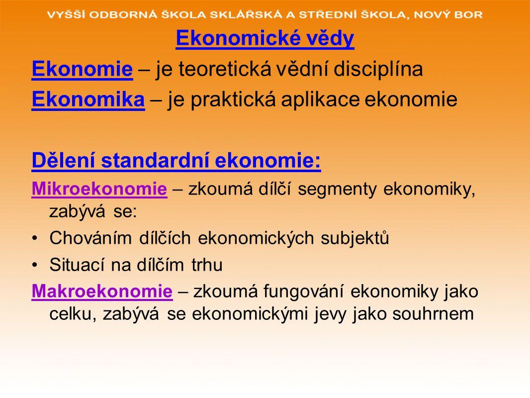 Ekonomie – je teoretická vědní disciplína