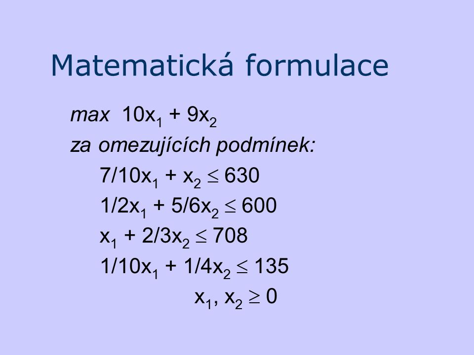 Matematická formulace