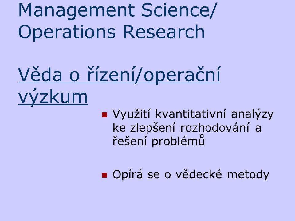 Management Science/ Operations Research Věda o řízení/operační výzkum