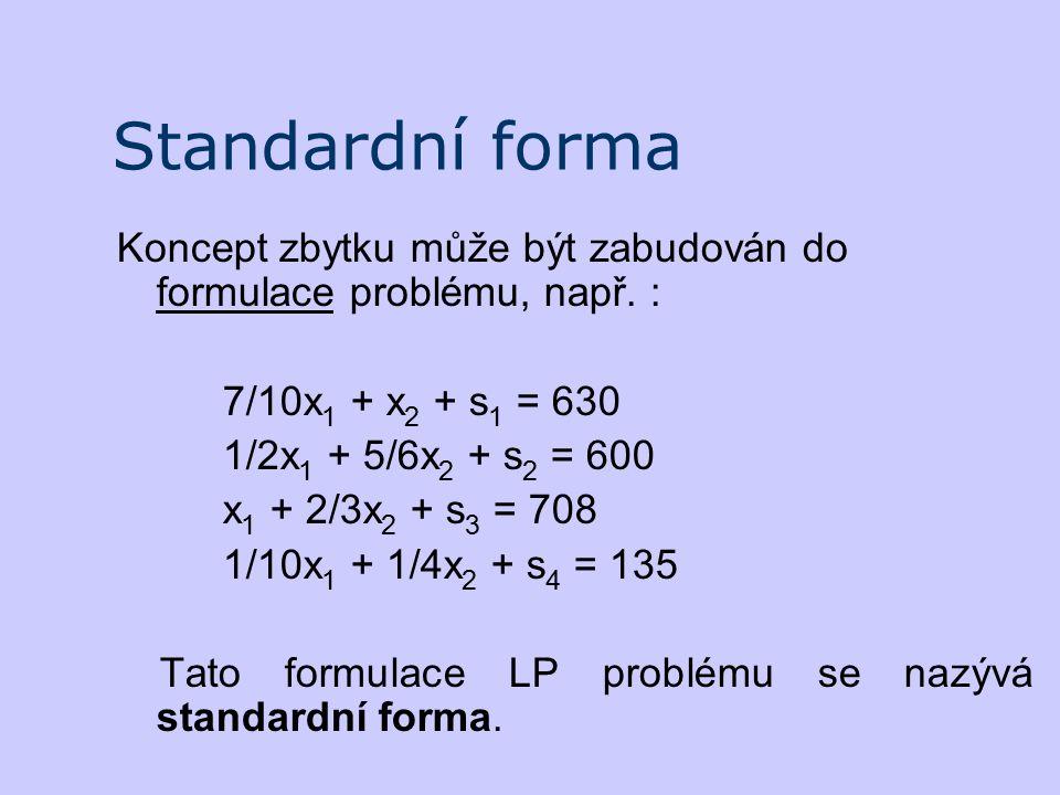 Standardní forma Koncept zbytku může být zabudován do formulace problému, např. : 7/10x1 + x2 + s1 = 630.