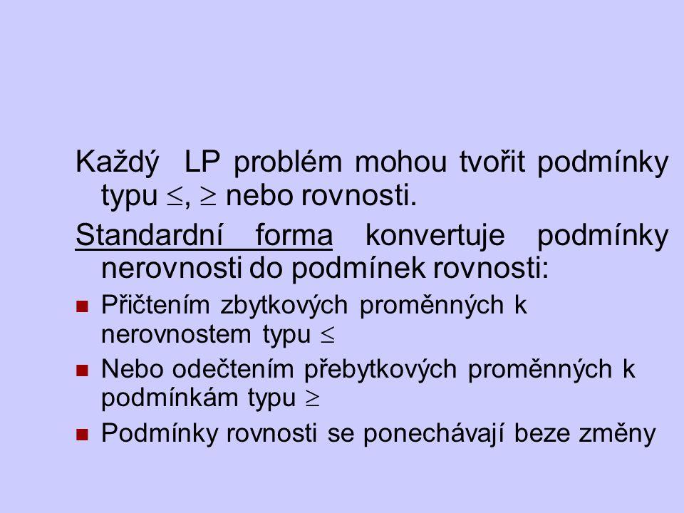 Každý LP problém mohou tvořit podmínky typu ,  nebo rovnosti.