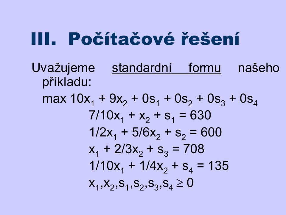 III. Počítačové řešení Uvažujeme standardní formu našeho příkladu: