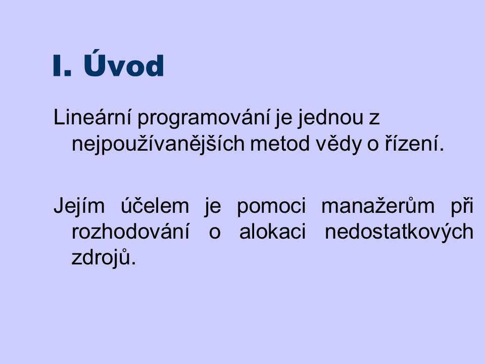 I. Úvod Lineární programování je jednou z nejpoužívanějších metod vědy o řízení.