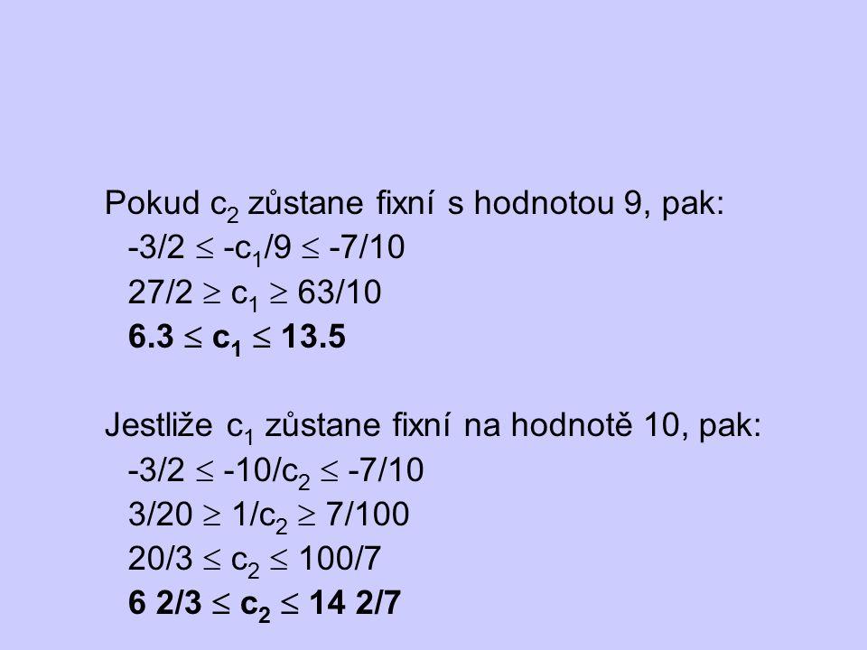 Pokud c2 zůstane fixní s hodnotou 9, pak: -3/2  -c1/9  -7/10