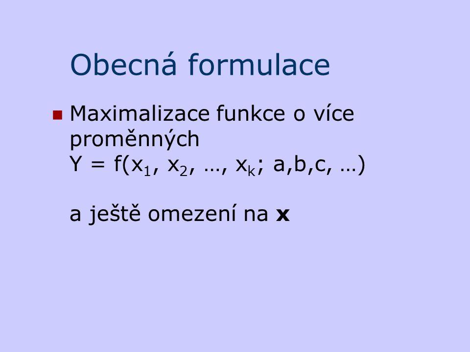 Obecná formulace Maximalizace funkce o více proměnných Y = f(x1, x2, …, xk; a,b,c, …) a ještě omezení na x.