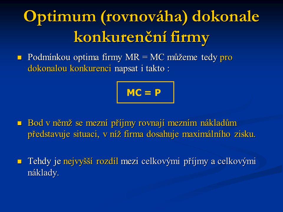 Optimum (rovnováha) dokonale konkurenční firmy
