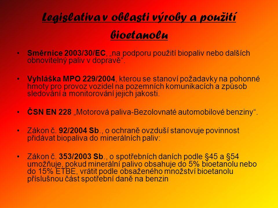 Legislativa v oblasti výroby a použití bioetanolu