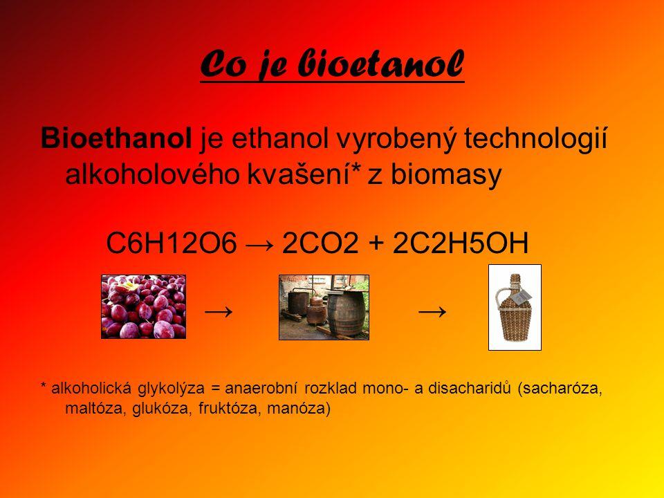 Co je bioetanol Bioethanol je ethanol vyrobený technologií alkoholového kvašení* z biomasy. C6H12O6 → 2CO2 + 2C2H5OH.