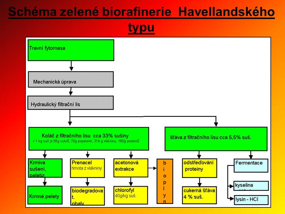 Schéma zelené biorafinerie Havellandského typu