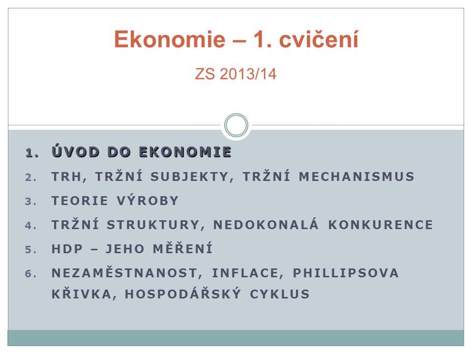 Ekonomie – 1. cvičení ZS 2013/14 ÚVOD DO EKONOMIE