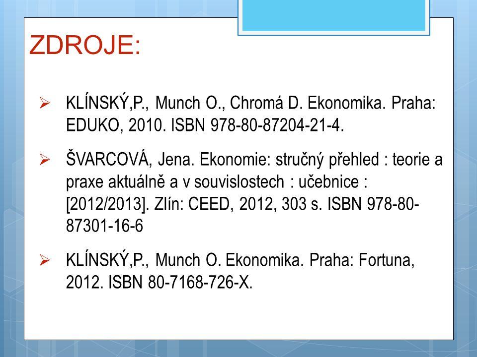 ZDROJE: KLÍNSKÝ,P., Munch O., Chromá D. Ekonomika. Praha: EDUKO, 2010. ISBN 978-80-87204-21-4.