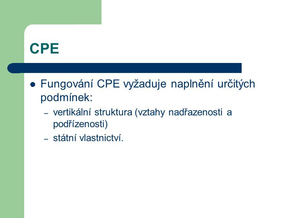 CPE Fungování CPE vyžaduje naplnění určitých podmínek: