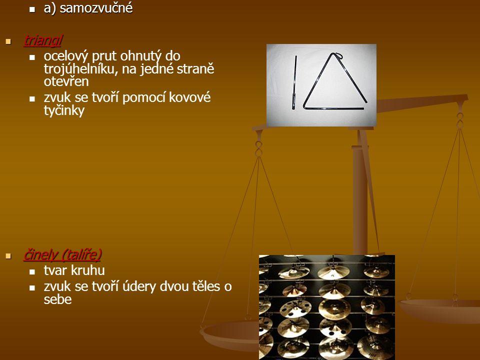 a) samozvučné triangl. ocelový prut ohnutý do trojúhelníku, na jedné straně otevřen. zvuk se tvoří pomocí kovové tyčinky.