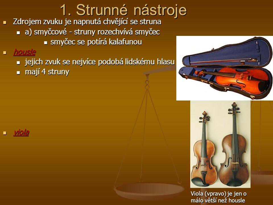 1. Strunné nástroje Zdrojem zvuku je napnutá chvějící se struna