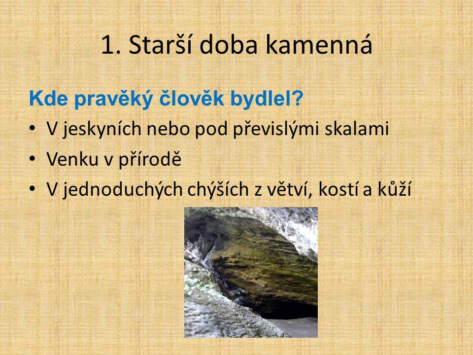 1. Starší doba kamenná Kde pravěký člověk bydlel