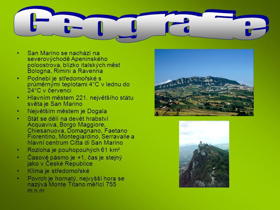 Geografie San Marino se nachází na severovýchodě Apeninského poloostrova, blízko italských měst Bologna, Rimini a Ravenna.