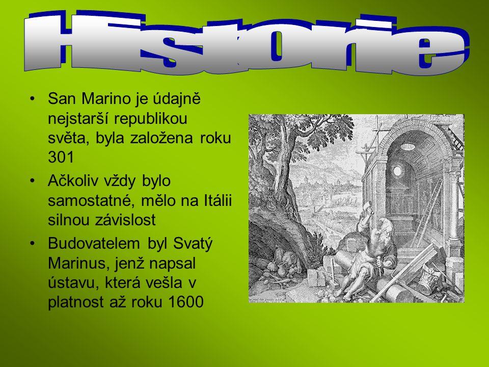 Historie San Marino je údajně nejstarší republikou světa, byla založena roku 301. Ačkoliv vždy bylo samostatné, mělo na Itálii silnou závislost.