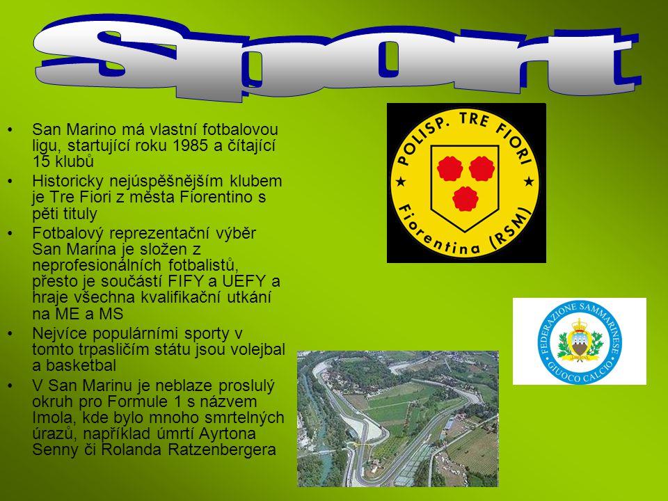 Sport San Marino má vlastní fotbalovou ligu, startující roku 1985 a čítající 15 klubů.