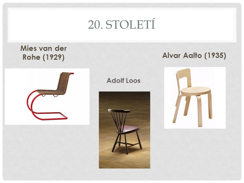 20. století Mies van der Rohe (1929) Alvar Aalto (1935) Adolf Loos