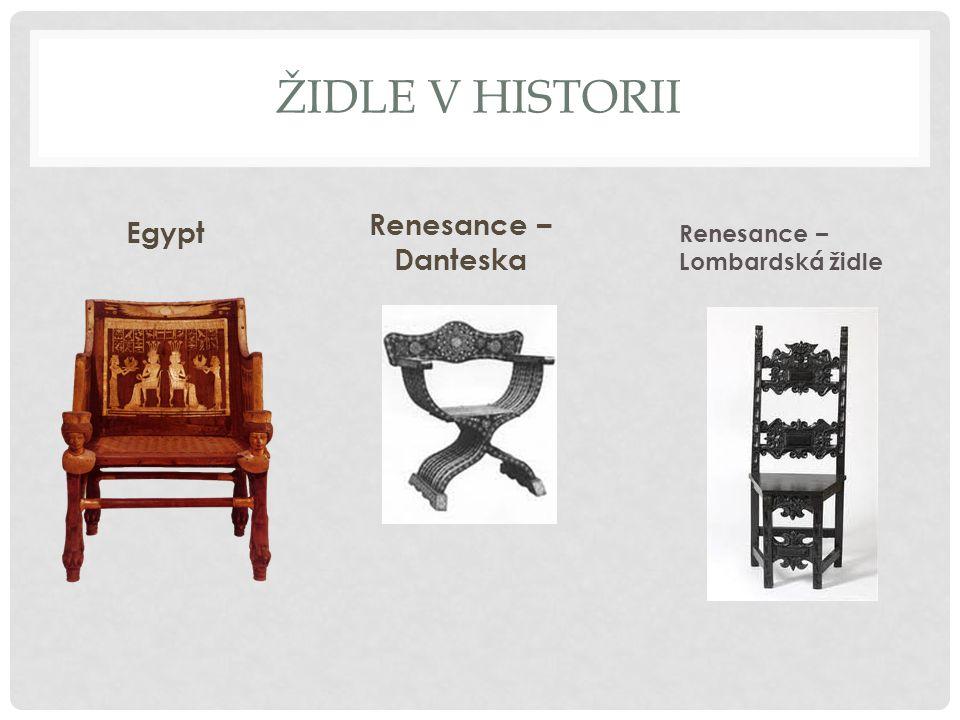 Židle v historii Renesance – Danteska Egypt