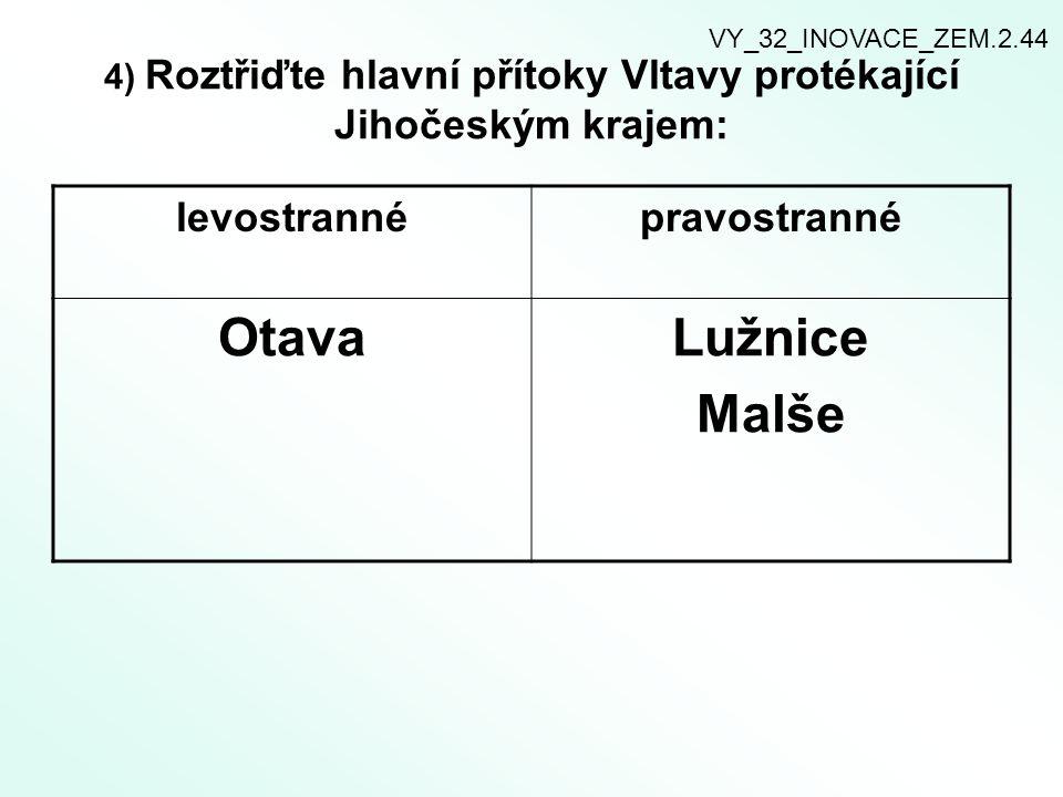 4) Roztřiďte hlavní přítoky Vltavy protékající Jihočeským krajem: