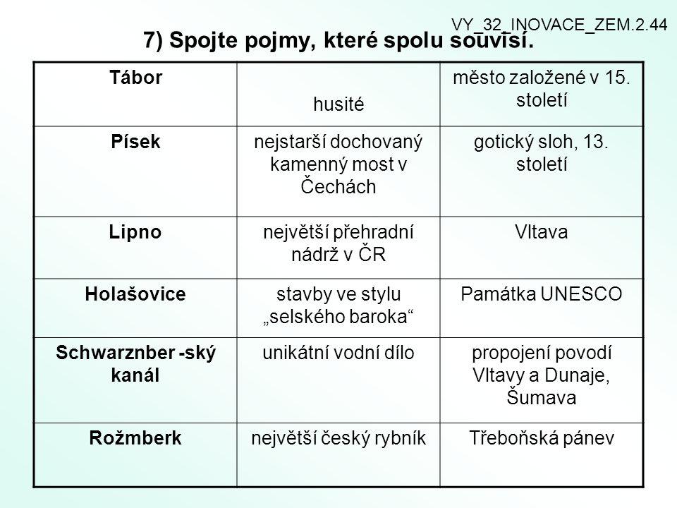 7) Spojte pojmy, které spolu souvisí.