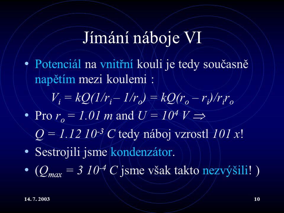 Vi = kQ(1/ri – 1/ro) = kQ(ro – ri)/riro