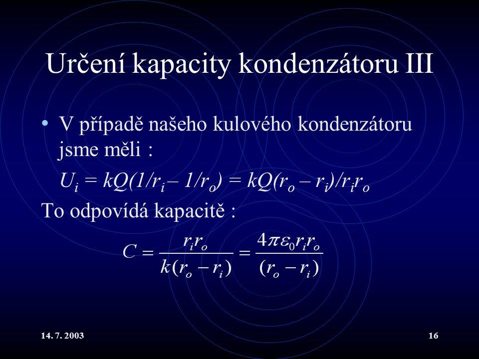 Určení kapacity kondenzátoru III