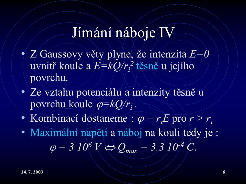 Jímání náboje IV Z Gaussovy věty plyne, že intenzita E=0 uvnitř koule a E=kQ/ri2 těsně u jejího povrchu.