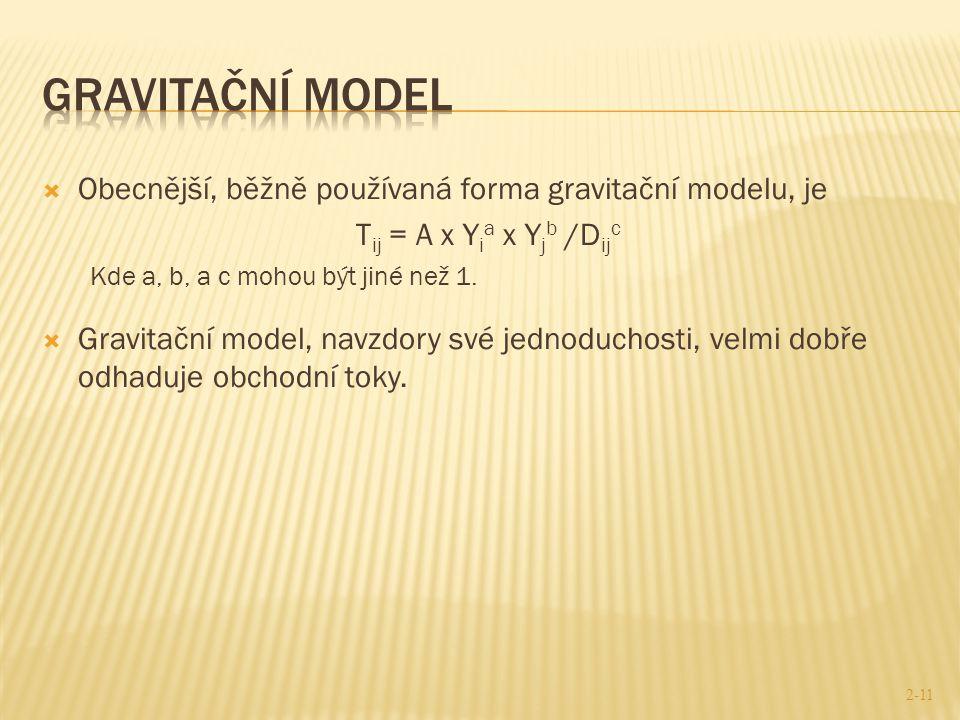 Gravitační model Obecnější, běžně používaná forma gravitační modelu, je. Tij = A x Yia x Yjb /Dijc.
