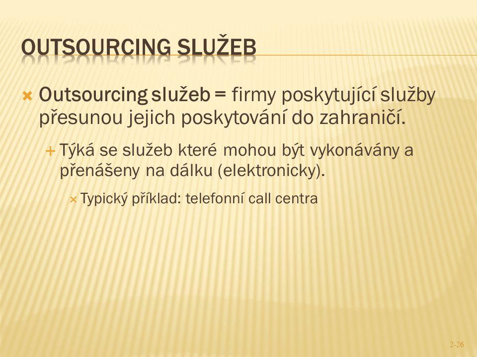 Outsourcing služeb Outsourcing služeb = firmy poskytující služby přesunou jejich poskytování do zahraničí.
