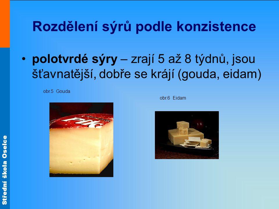 Rozdělení sýrů podle konzistence