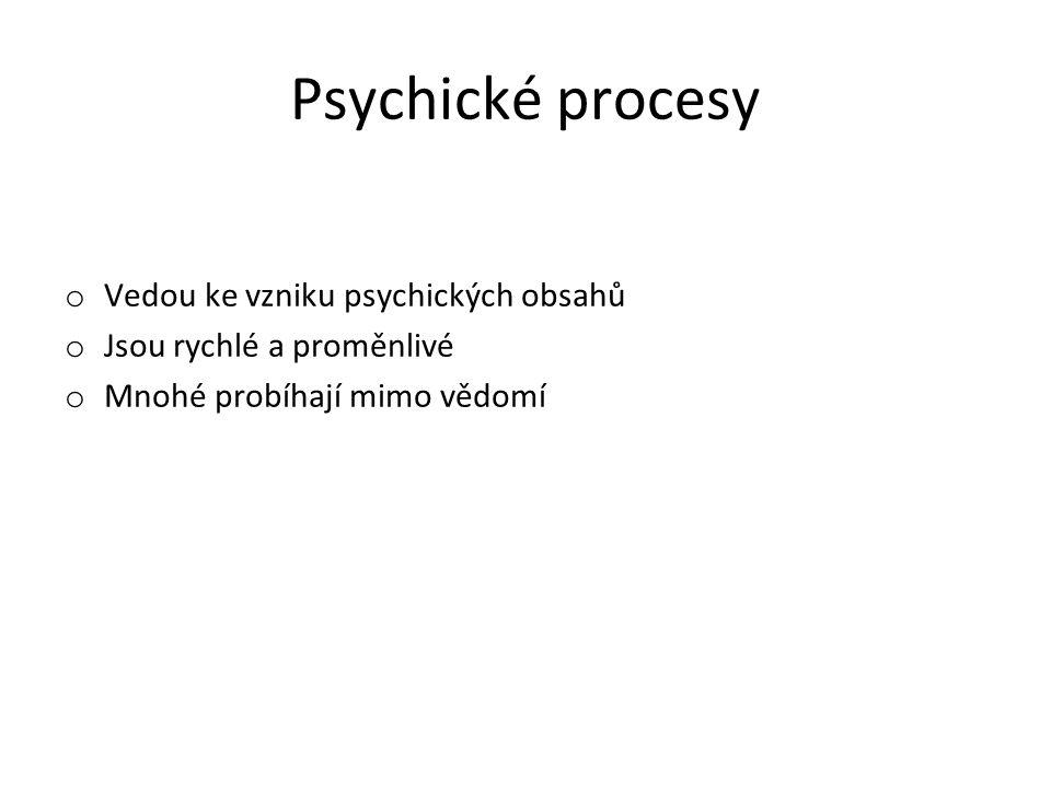 Psychické procesy Vedou ke vzniku psychických obsahů