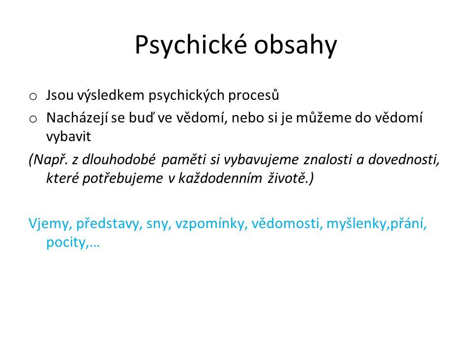 Psychické obsahy Jsou výsledkem psychických procesů
