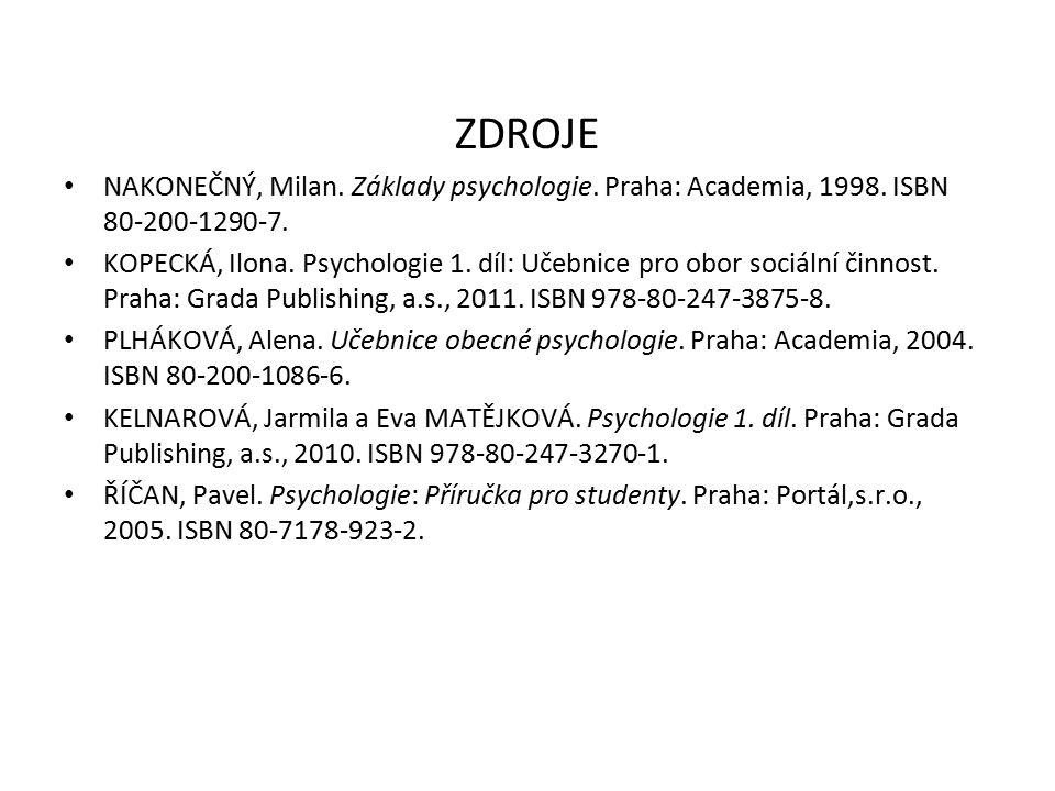 ZDROJE NAKONEČNÝ, Milan. Základy psychologie. Praha: Academia, 1998. ISBN 80-200-1290-7.