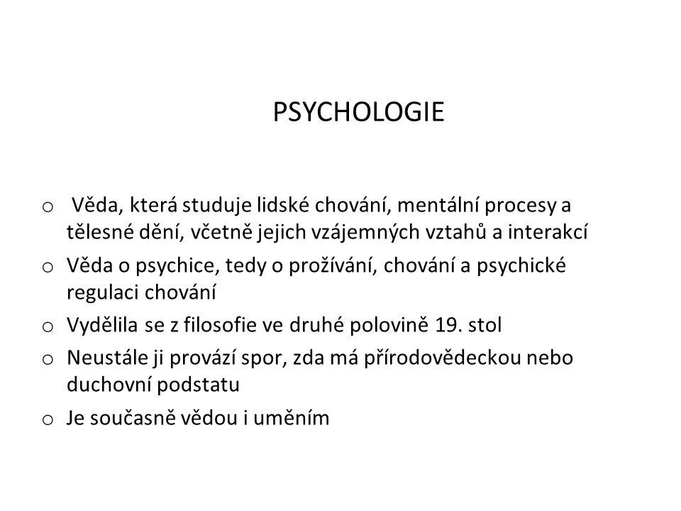 PSYCHOLOGIE Věda, která studuje lidské chování, mentální procesy a tělesné dění, včetně jejich vzájemných vztahů a interakcí.