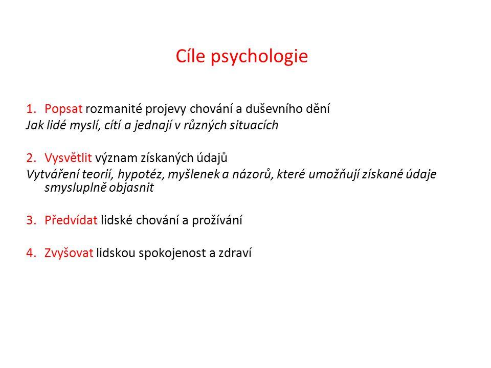 Cíle psychologie Popsat rozmanité projevy chování a duševního dění