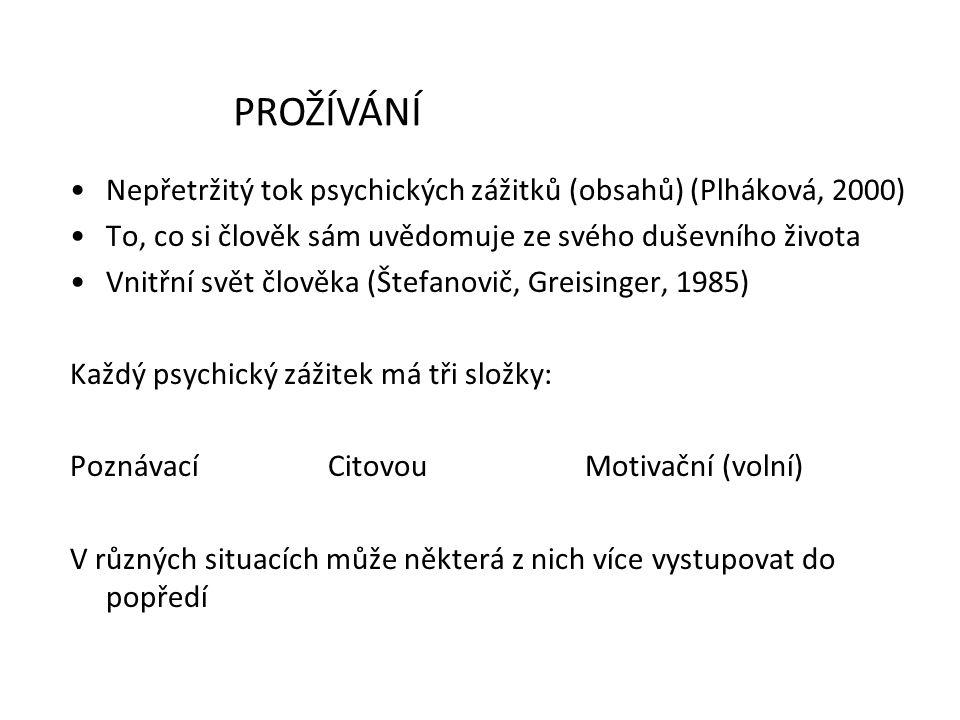 PROŽÍVÁNÍ Nepřetržitý tok psychických zážitků (obsahů) (Plháková, 2000) To, co si člověk sám uvědomuje ze svého duševního života.