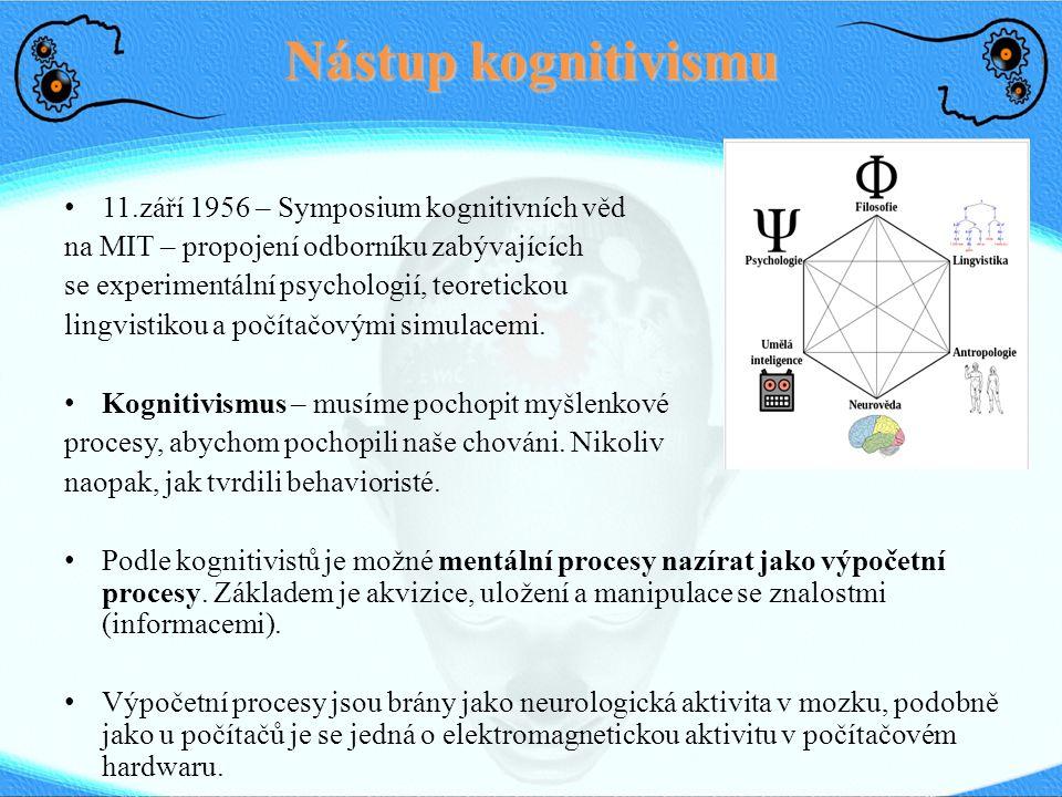 Nástup kognitivismu 11.září 1956 – Symposium kognitivních věd